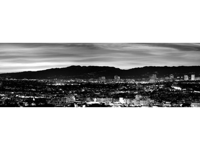 High angle view of a city at dusk Culver City Santa Monica Mountains West Los Angeles Westwood California USA Poster Print (6 x 18)