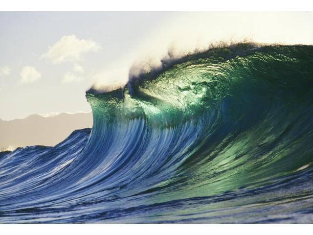 Hawaii Oahu North Shore Large Green Blue Wave About To Curl Mountains In Background Poster Print (20 x 14)