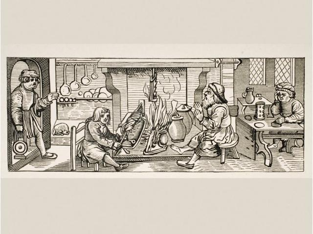 Interior Of A 16Th Century Kitchen Copy Of Woodcut In Calendarium Romanum By Jean Staeffler Printed In Tubingen Germany 1518 Poster Print (17 x 12)