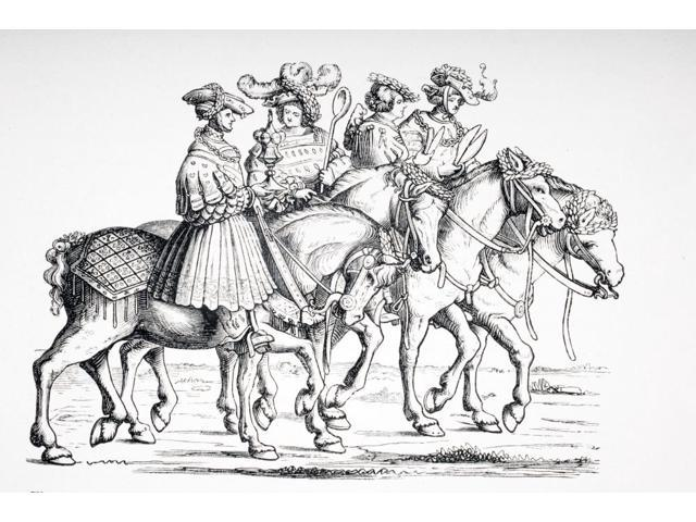 Officers Of The Table And Of The Chamber Of The Imperial Court Of Maximilian I From Left Cup Bearer CookBarber And Tailor 19Th Century Reproduction Of Engraving From 1512 In Triomphe De Maximilian I B