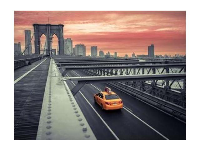 Cab on brooklyn bridge Manhattan New York Poster Print by Assaf Frank (18 x 24)