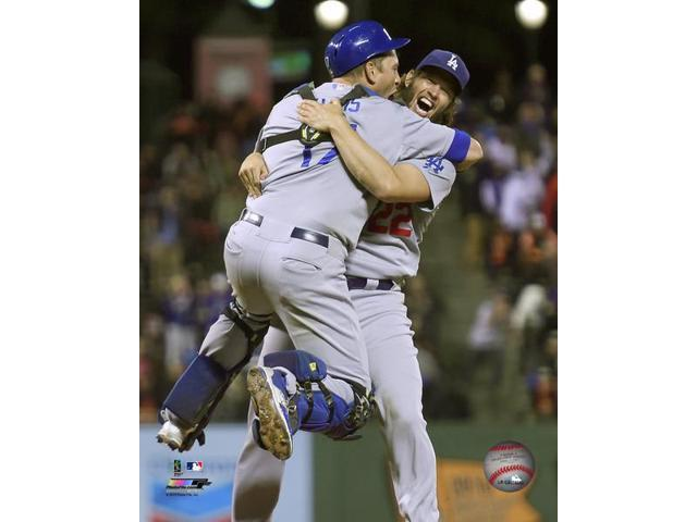 Clayton Kershaw & AJ Ellis celebrate the Dodgers winning the 2015 National League West Division Photo Print (11 x 14)