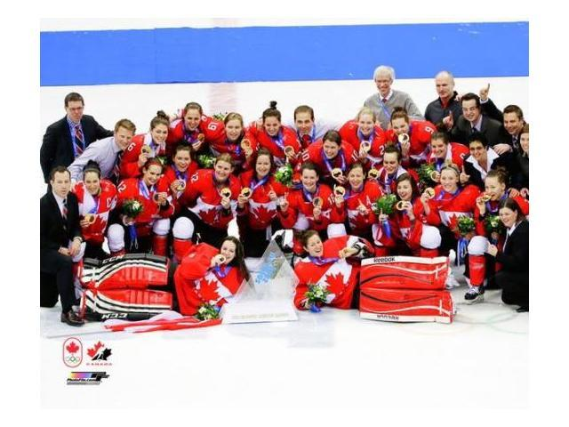 Team Canada Womens Olympic Hockey Team Celebrates winning the Gold Medal 2014 Winter Olympics Photo Print (8 x 10)