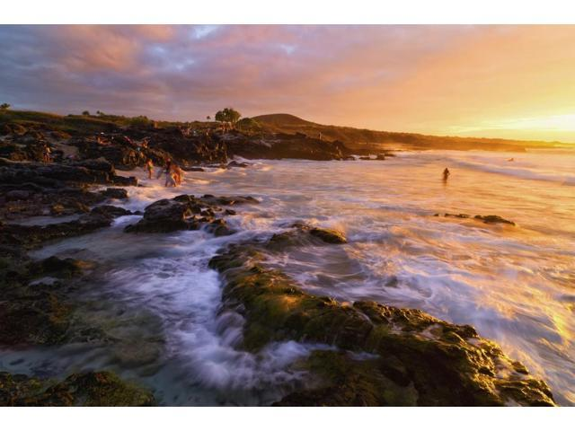 Kua Bay beach at sunset Kona Coast Kona Big Island Hawaii United States of America Poster Print (18 x 12)