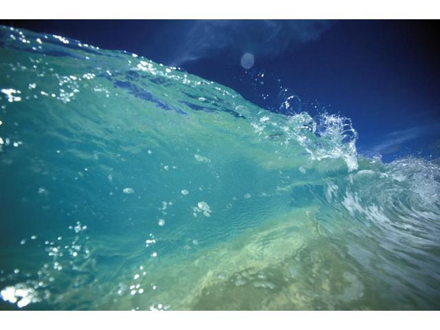 Hawaii Turquoise Breaking Wave Sand Visible Through Clear Water Blue Sky Close-Up Poster Print (17 x 11)