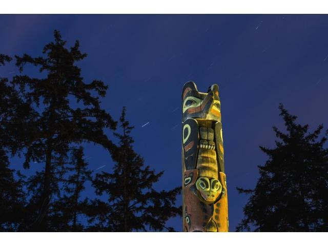 A large Totem Pole lit up at night in Sitka National Historic Park with star trails overhead Sitka Southeast Alaska USA Summer Poster Print (19 x 12)