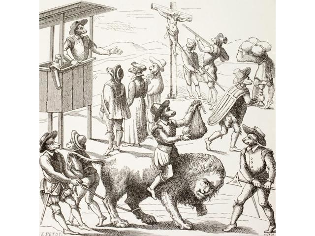 Allegorical Picture Of Excesses Said To Have Been Committed By The Huguenots The Tame Lion Represents A France Reduced By The Heretics And Their Practices From Military And Religious Life In The Middl