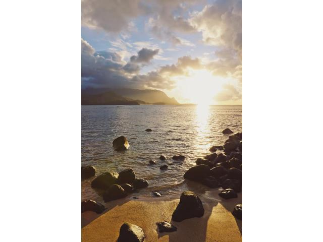 Hawaii Kauai Hanalei Bay Dramatic sunset over ocean from beach Poster Print (12 x 19)