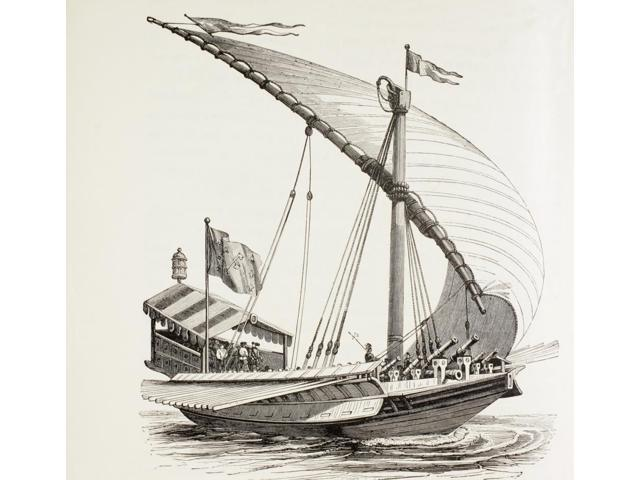 Pontifical Galley With Sails Oars And Heavy Artillery It Is Flying The Papal Flag After A Drawing By Breugal The Elder From Military And Religious Life In The Middle Ages By Paul Lacroix Published Lon
