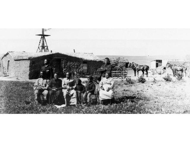 Black Homesteaders Nthe Moses Speese Family Outside Their Sod House Near Westville Nebraska Photograph Late 19Th Century Poster Print by  (18 x 24)