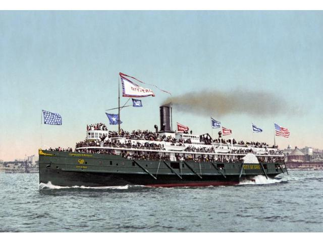 Riverboat C1900 Nthe Steamboat City Of Erie Which Travelled The Cleveland And Buffalo Line Photochrome C1900 Poster Print by  (18 x 24)
