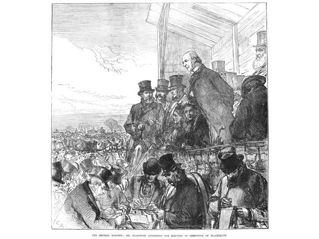 Willaim Ewart Gladstone N(1809-1898) English Satesman The General Election Mr Gladstone Addressing The Electors Of Greenwich On Blackheath Wood Engraving From An English Newspaper Of 1874 Poster Print