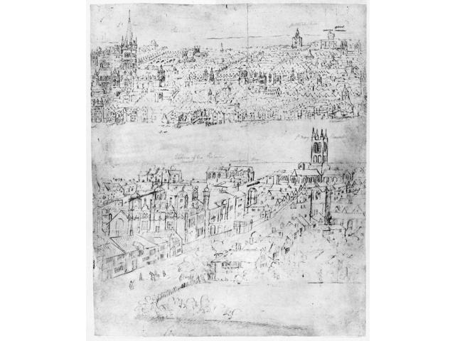 England London C1550 Ndetail From Anthon Van Den WyngaerdeS View Of London C1543-1550 Showing Southwark With Its High Street In The Foreground And London On The North Side Of The Thames River With St