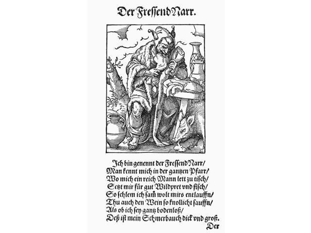 Glutton 1568 Nthe Gluttonous Fool Woodcut 1568 By Jost Amman Poster Print by  (18 x 24)
