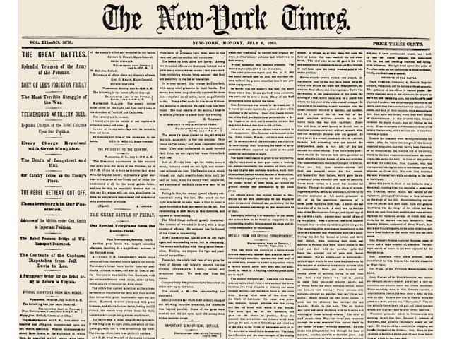 Gettysburg Headline 1863 Nbattle Of Gettysburg 1-3 July 1863 The Front Page Of The New York Times Of 6 July 1863 Reporting The Union Victory Poster Print by  (18 x 24)