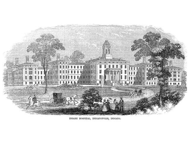 Indiana Asylum 1854 Nthe Insane Hospital At Indianapolis Indiana Wood Engraving 1854 Poster Print by  (18 x 24)