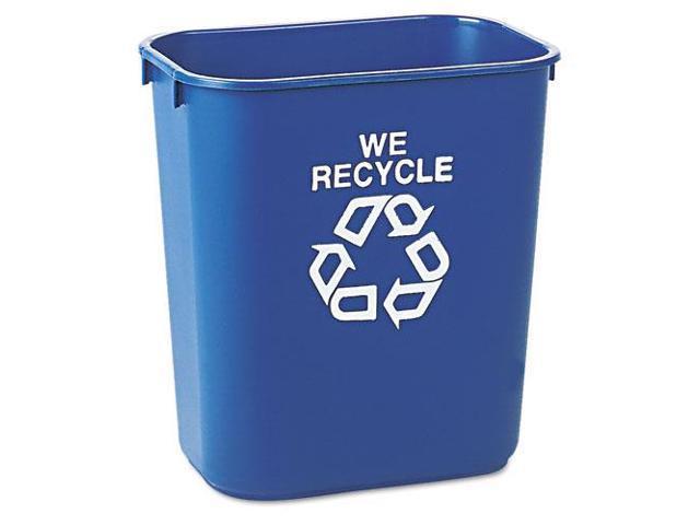 Small Deskside Recycling Container, Rectangular, Plastic, 13.625Qt, Bl
