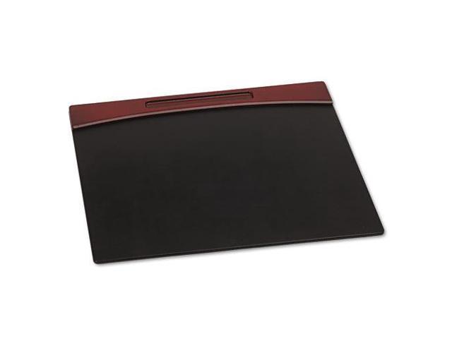 Mahogany Wood And Black Faux Leather Desk Pad, 23 7/8 X 19 7/8 X 11/16