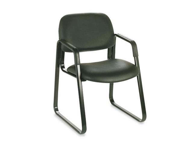 Cava Collection Sled Base Guest Chair, Black Vinyl