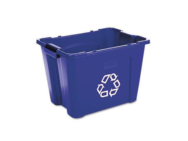 Stacking Recycle Bin, Rectangular, Polyethylene, 14Gal, Blue