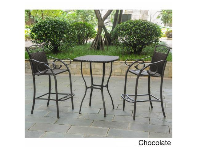 International Caravan Valencia Resin Wicker/ Steel 3-piece Bar-height Bistro Set