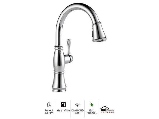 Delta 9197-DST Cassidy Pull-Down Spray Kitchen Faucet with Forward Rotating Handle, Magnetic Sp, Chrome