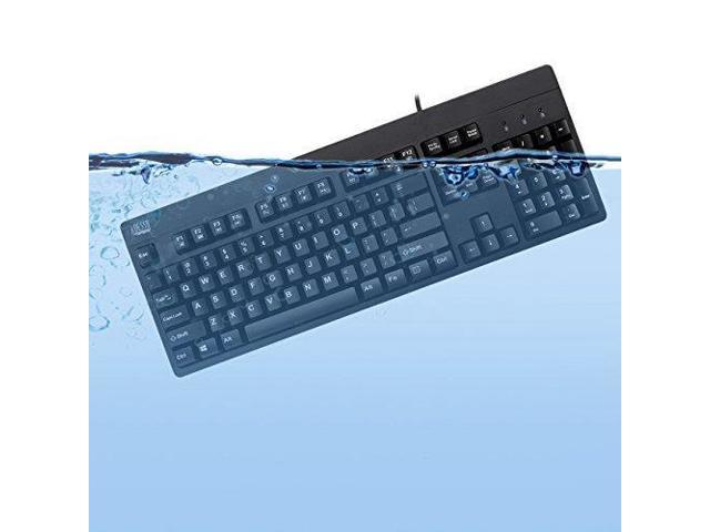 Adesso Ip67 Rated Waterproof, Antimicrobial  Multimedia Usb Keyboard With 2X Pri
