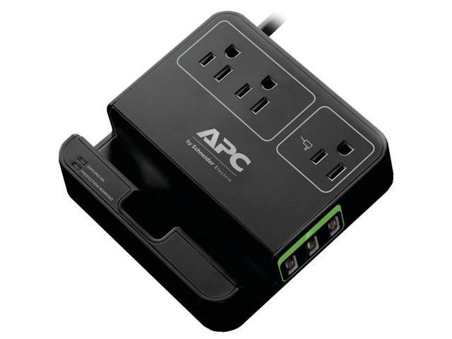 APC P3U3B 3-Outlet SurgeArrest(R) Surge Protector with 3 USB Ports (Black)