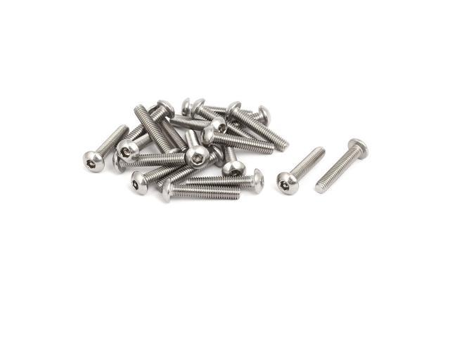 M3x16mm 304 Stainless Steel Button Head Hex Socket Tamper Proof Screws 20pcs