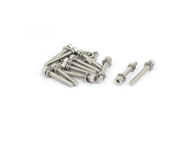 M4x30mm 304 Stainless Steel Hex Socket Head Cap Bolt Screw Nut w Washer 12 Sets