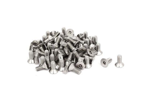 M4x10mm 304 Stainless Steel Flat Head Hex Socket Tamper Resistant Screws 80pcs