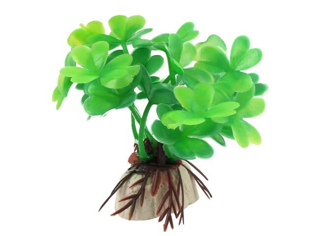 Fisk Tank Aquarium Ceramic Base Plastic Water Aquatic Plant Decor Ornament Green
