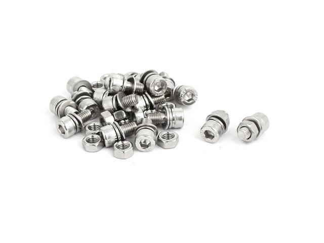 M5x10mm 304 Stainless Steel Hex Socket Head Cap Bolt Screw Nut w Washer 18 Sets