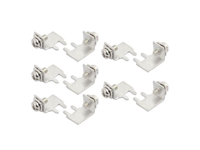 10 Pcs M3 2P Type 1 Side Face Snap in Screw Terminal Block w Rect Spacer Screw