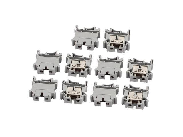 10Pcs UIK16 800V 85A Rail Mount 16mm2 Cable Screw Type Terminal Block Gray