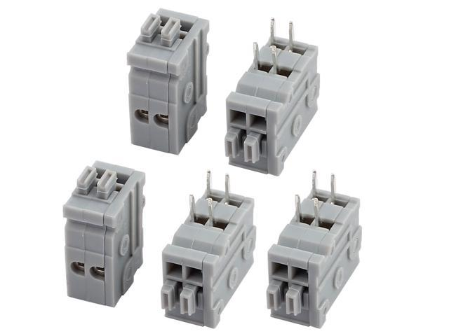 5pcs 150V 2A 2.5mm Pitch 2 Terminal Gray Spring Terminal Block for PCB Mounting