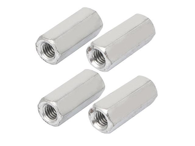 M6x25mm Female Thread 304 Stainless Steel Studding Hex Connector Deep Nut 4pcs
