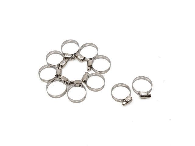 10 Pcs Stainless Steel Car Adjustable Hose Clamps Fuel Line Worm Clips 18-25mm