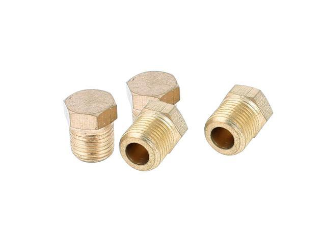 1/8BSP Male Thread Dia Brass Internal Hex Head Pipe Connector Gold Tone 4pcs