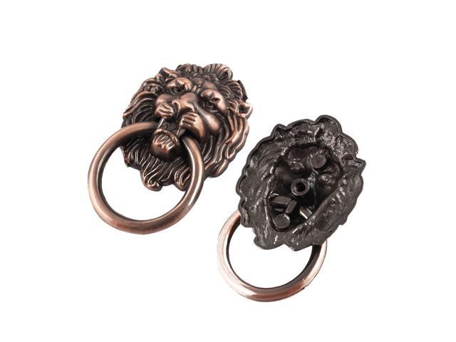 Metal Lion Head Design Vintage Style Gate Drawer Pull Handle 40mm Width 2pcs