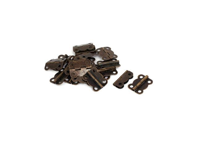 Cosmetic Box Wooden Case Metal Foldable Butt Hinges Bronze Tone 20pcs