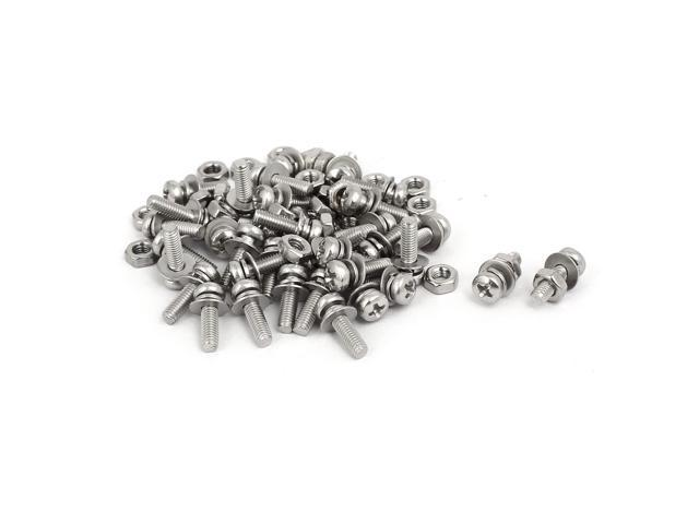 M3x10mm 304 Stainless Steel Phillips Pan Head Bolt Screw Nut w Washer 35 Sets