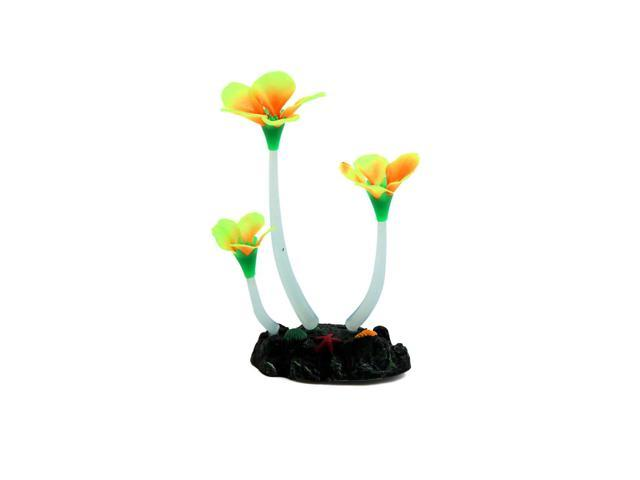 Yellow Glowing Effect Artificial Flower Decor Plant for Aquarium Fish Tank