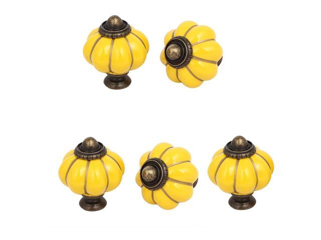 Home Office Furniture Ceramic Pumpkin Shape Pull Handle Knob Yellow 5pcs