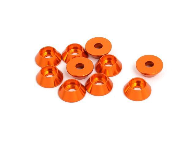 M3 Aluminium Alloy Cone Shaped Round Cup Fender Bumper Washer Orange ...
