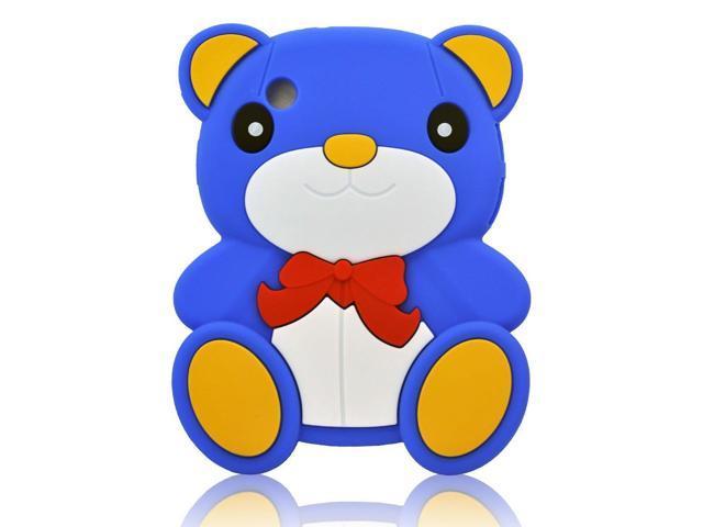 HJX Dark Blue Samsung P3100 Lovely 3D Cartoon Animal Teddy Bear Pattern Soft Silicone Rubber Case Cover for Samsung Galaxy Tab 2 7.0