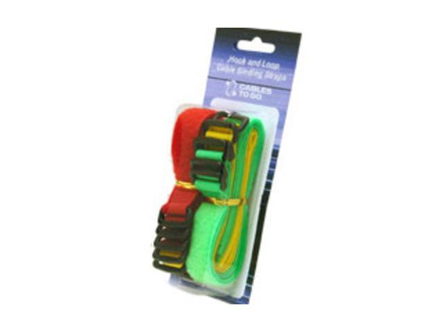 C2G 29856 11in HOOK AND LOOP CABLE MANAGEMENT STRAPS - 12-PACK BRIGHT MULTI-COLOR