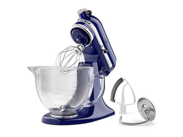 KitchenAid KSM105GBCBU Cobalt Blue Tilt Head Stand Mixer With Glass Bowl