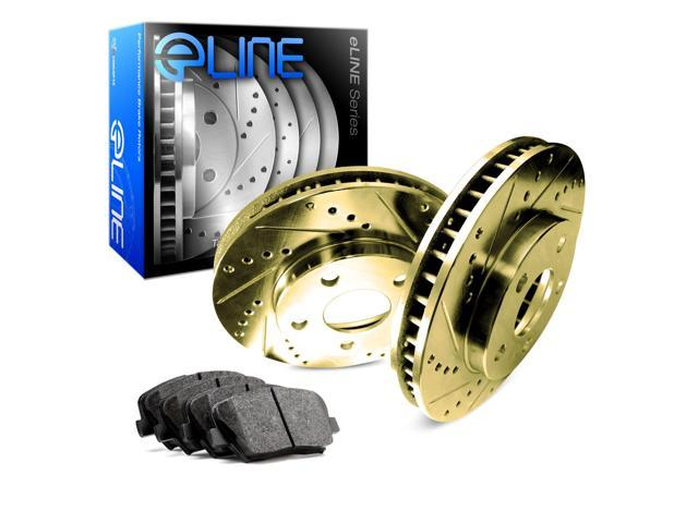 Front Gold Drilled Slotted Brake Rotors & Semi Met Brake Pads FGC.40090.03