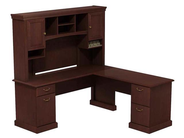 L-Desk with Hutch in Harvest Cherry Finish